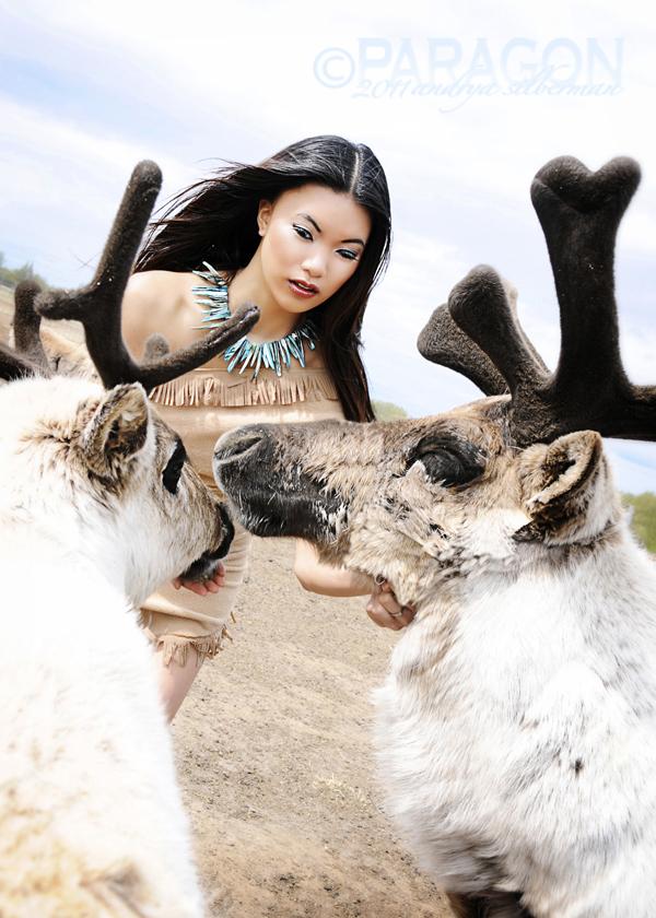 "Palmer, Alaska Jul 23, 2011 Andrya Silberman / Paragon Photography and Design ""Pocahontas"" Model: Samantha Hair/MU/Wardrobe: Rachel Sigmon Special Thanks to Williams Reindeer Farm!"