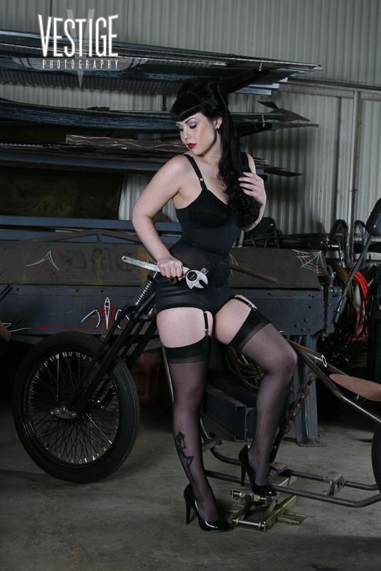 Dublin Mob Choppers Aug 08, 2011 Vestige Photography November 2010 Modeling in Girdlebound with motorcycle skeleton
