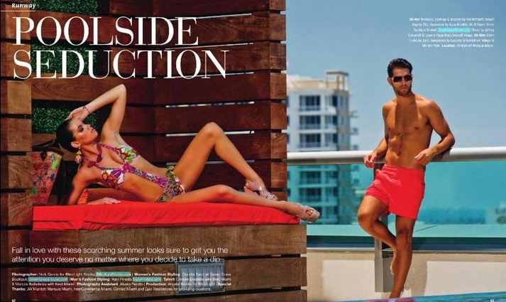 Aug 30, 2011 Brickell Magazine Editorial July/August 2011 Producer: Angela Bonilla for Blind Light Studios Photographer: Nick Garcia for Blind Light Studios MakeUp artist: Khadine Ali Stylists: Claudia Sanz and Naty Pineda Models: Marcus and Christie for Next Mia
