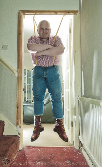 Studio Aug 31, 2011 Draconian Artworks/ Drew Miller Self portrait...Skinhead baby bouncer