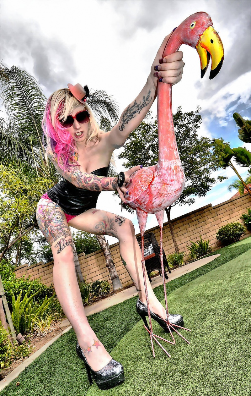 SoCal Sep 08, 2011 SM Pink Pirate saddles up her flamingo in Cucamonga... shot at the Sept 4th SM Poolparty & Gameroom Photoshoot