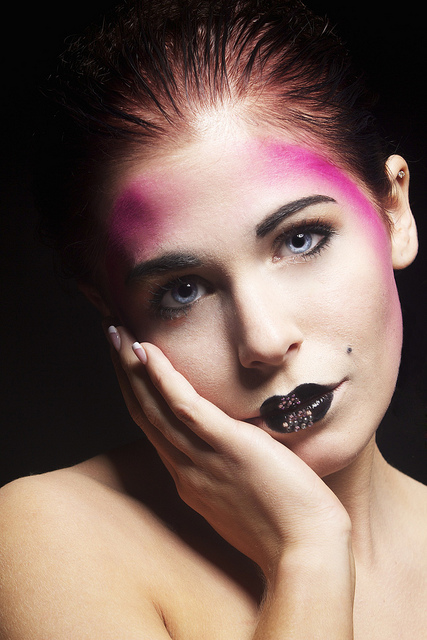 Female model photo shoot of Makeup by April Wilson, clothing designed by Billiejeanz