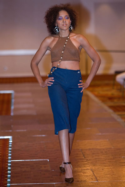 Chicago Hilton Sep 10, 2011 Fashion Face off Fashion Show, knitted halter top and striped denim capri