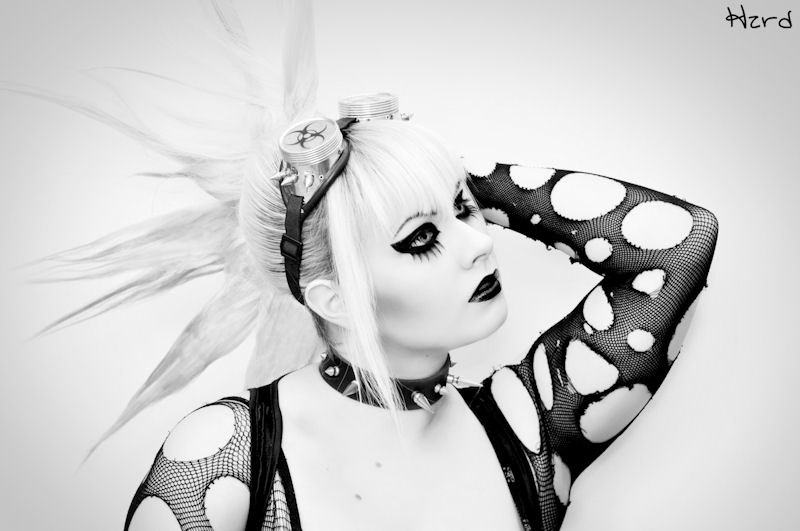 Female model photo shoot of DeadDollyX by Hzrd Photography, makeup by Dead Dolly MUA
