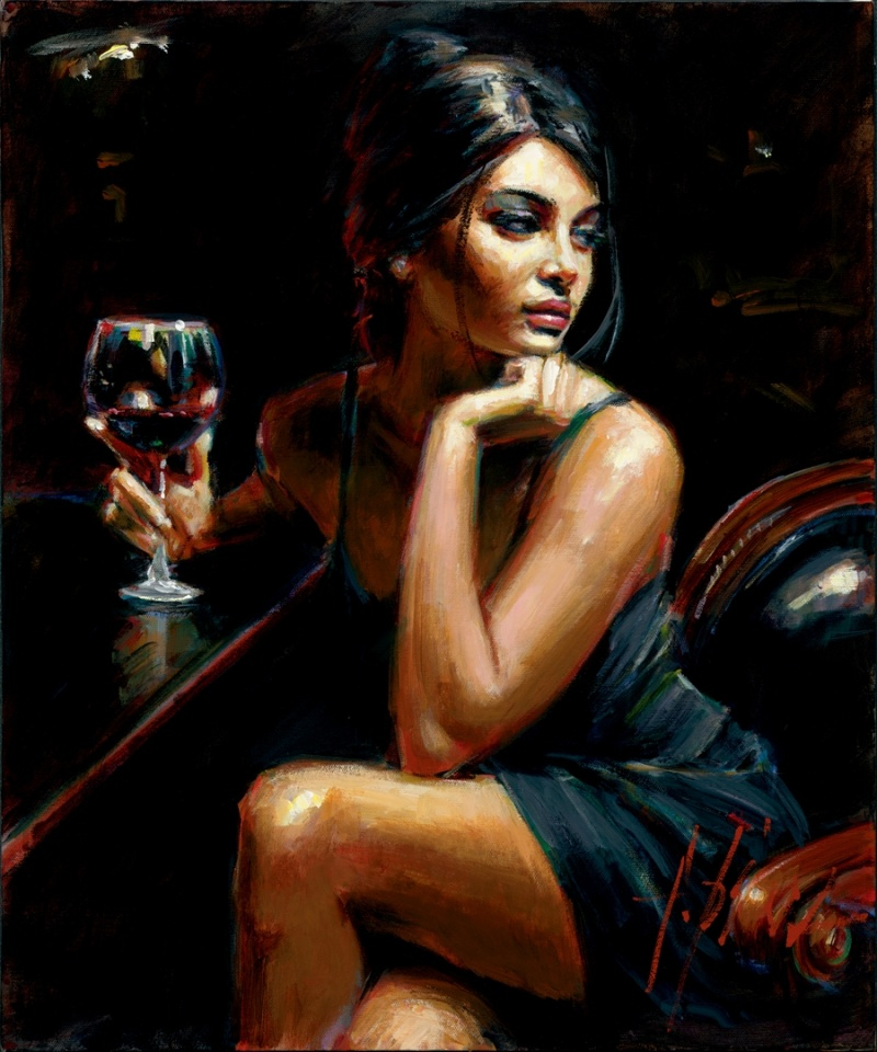 Sep 19, 2011 Fabian Perez Art Publishing, LLC Saba with a Glass of Wine