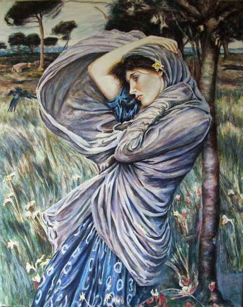 England Sep 30, 2011 Andy Lloyd Boreas, acrylic on canvas, based upon the original pre-Raphaelite painting by John William Waterhouse