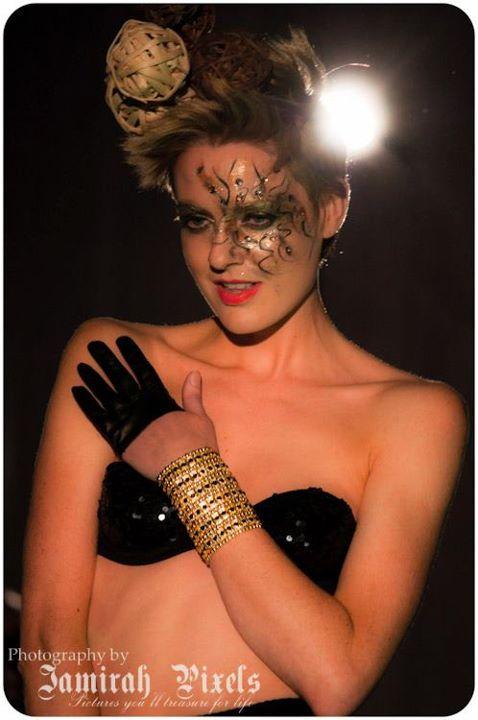 Female model photo shoot of Giedre B in Feme Fatale show