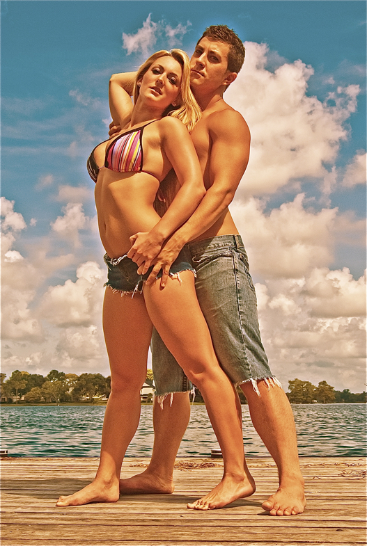 Male and Female model photo shoot of sospix and Bre Burns in By da lake