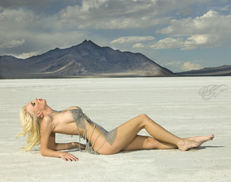 Bonneville Salt Flats, Utah Oct 15, 2011 Michael Anthony Glamour Huster Model Casey james For Shadow Oak Maille