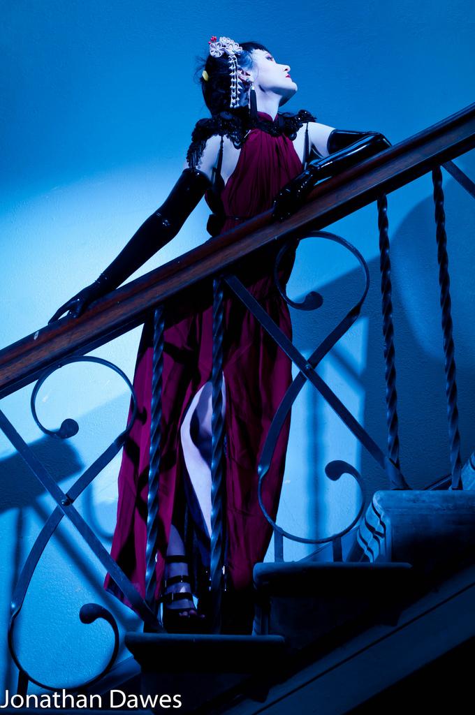 Female model photo shoot of Haute Noir and Erica Krasickaite by Zimdian , clothing designed by AnnaKarenina