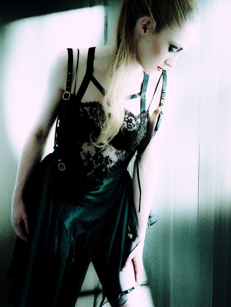 Female model photo shoot of Haute Noir by Jfoto, clothing designed by Karolina Laskowska