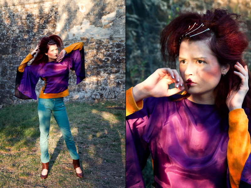 Female model photo shoot of Maison Bizarre and Nina Sever in Florence, makeup by SilviaGerzeli