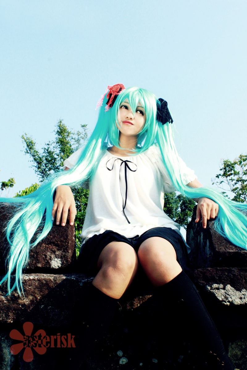 Candi Boko, Jogjakarta, Indonesia Oct 30, 2011 Miku Hatsune (Vocaloid 2) (C) Yamaha Miku Cosplay - World is Mine