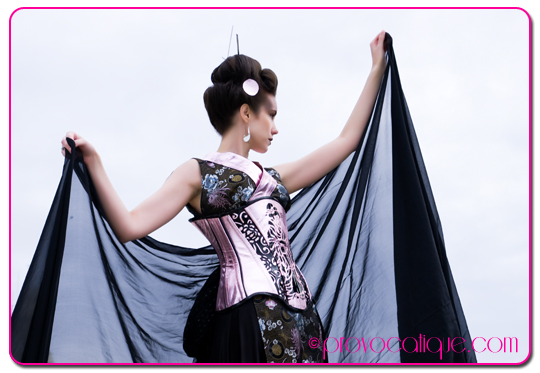 Female model photo shoot of Le Provocateur and T R Mitchell in Columbus Ohio, clothing designed by Wilde Hunt Corsetry
