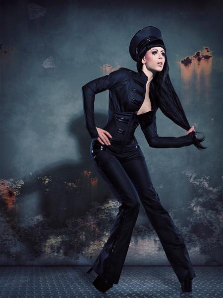 Male and Female model photo shoot of Julian M Kilsby and Model Ophelia Overdose in Birmingham, clothing designed by Tatjana Warnecke