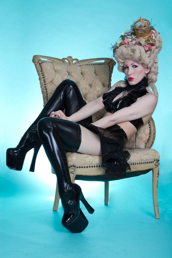 Nov 30, 2011 Paindancer Marie does fetish - Vinyl circle skirt, vinyl ruffle top by Karen von Oppen for KvO Design