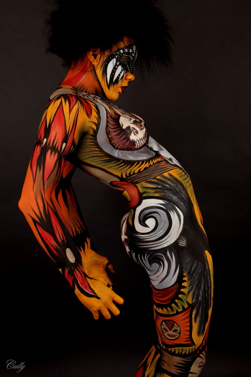 Lafayette, LA Cully Firmin Studio Dec 18, 2011 Cully Firmin/ Tiffany Beckler This is the longest Body Paint I ever modeled. (Titled: Voodoo) It took 12hrs to finish the application. Well worth it! (Besides the signature on the bottom left... This is an unedited photo.)