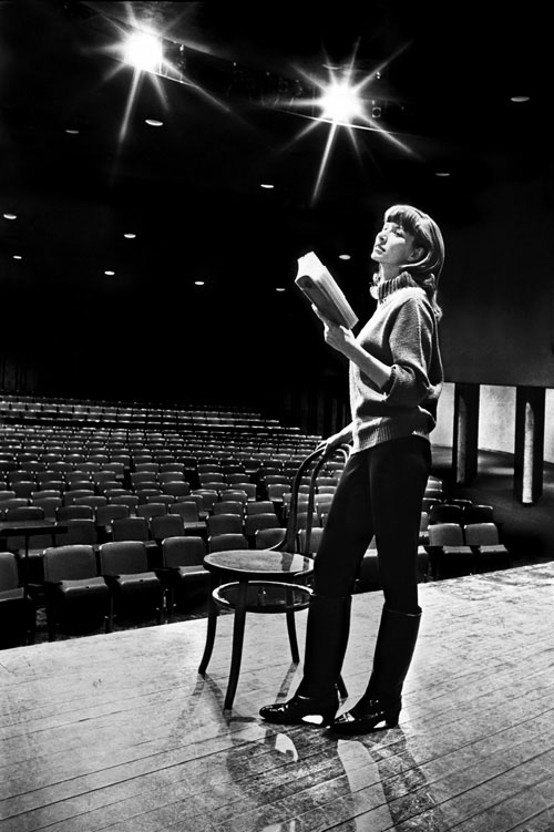 One of the small production performing arts theaters at the University of Oklahoma School of Drama, Norman, OK. Dec 19, 2011 ©2011 Dave  Dryden Rehearsing her lines. Model: Mary Martha Miles. Film scan: Allied Photocolor, St. Louis, MO.