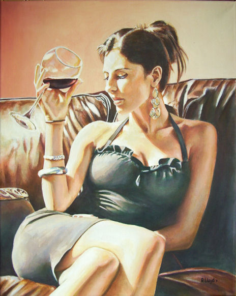 painted in England Dec 24, 2011 Andy Lloyd, after a photo by Fabian Perez Red, Red Wine in acrylic on canvas