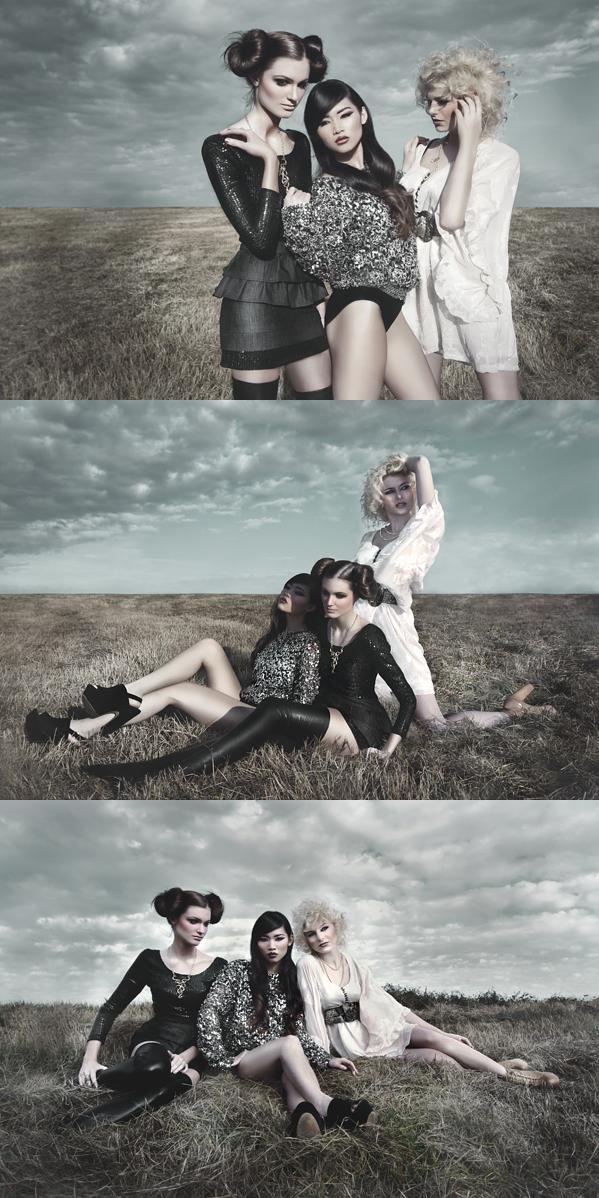 Female model photo shoot of Keely Nguyen, Paris Elise, Thu V and Piiper Marie , hair styled by Jason g Keller, makeup by Lauren Kattan MUA and CHRIS CARTER
