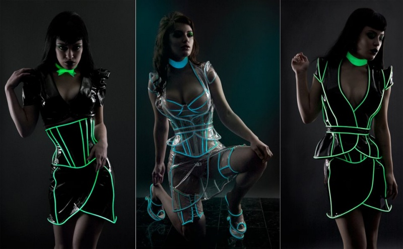 Dec 30, 2011 Glowstick green and Glowing green trim fembot photoshoot (white in normal light)