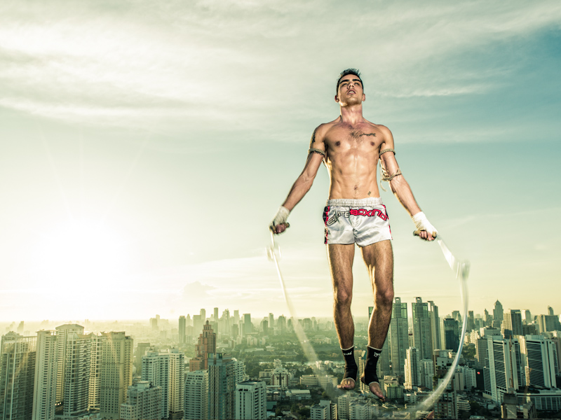 Bangkok, 50th floor of a building (not a photoshop montage!!!!) Jan 24, 2012 www.jcvg.net Ilya Muay Thai fighter