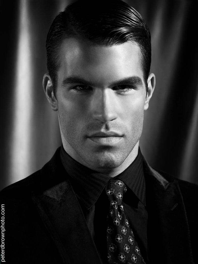 Male model photo shoot of Peter D Brown in NYC, makeup by The Parker Twins Makeup