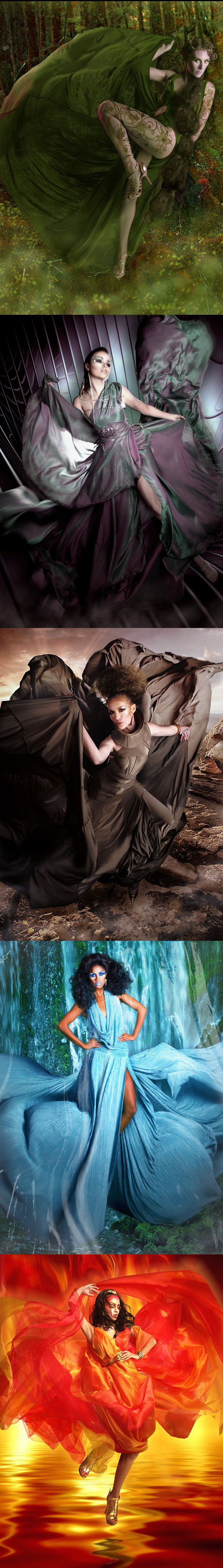 San Diego, CA Jan 29, 2012 FBTVFashion2012 Flying Elemental Godesses Collection: Wood, Metal, Earth, Water, Fire