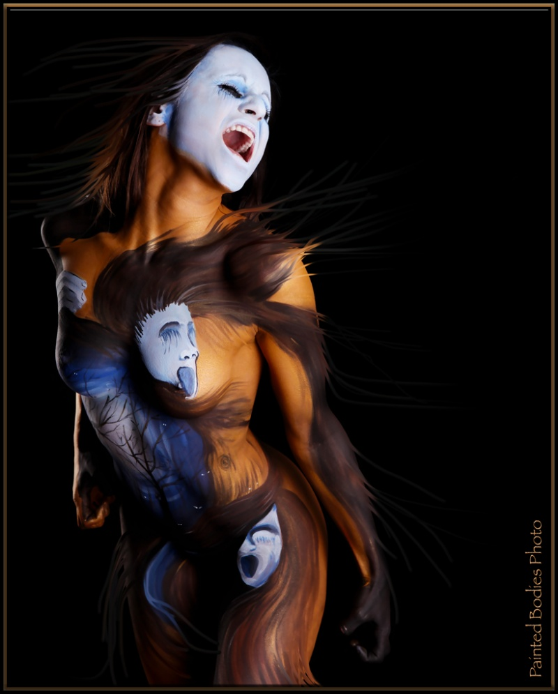 Female model photo shoot of Tiffany Joanne in Wilmington, MA, body painted by Painted Bodies