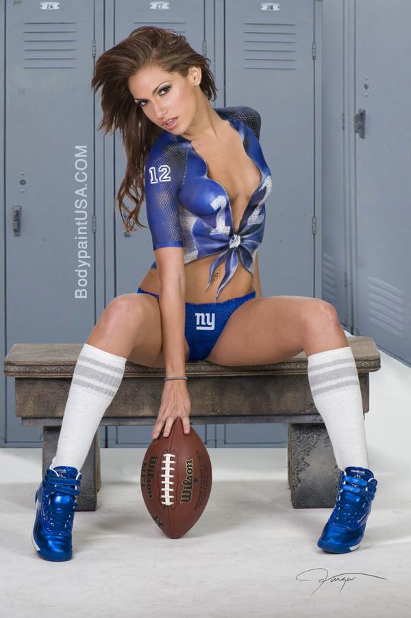 New York Feb 07, 2012 Vargas Vargas, Bodypaint New York Giants, Model Reby Sky