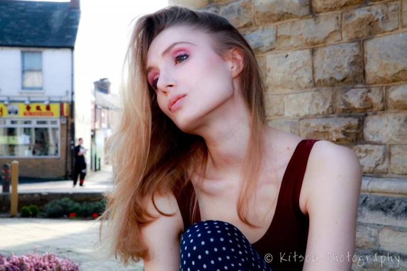 Female model photo shoot of Ailsa Naumann in Cowley Road, Oxford, makeup by Becky Sutton MUA
