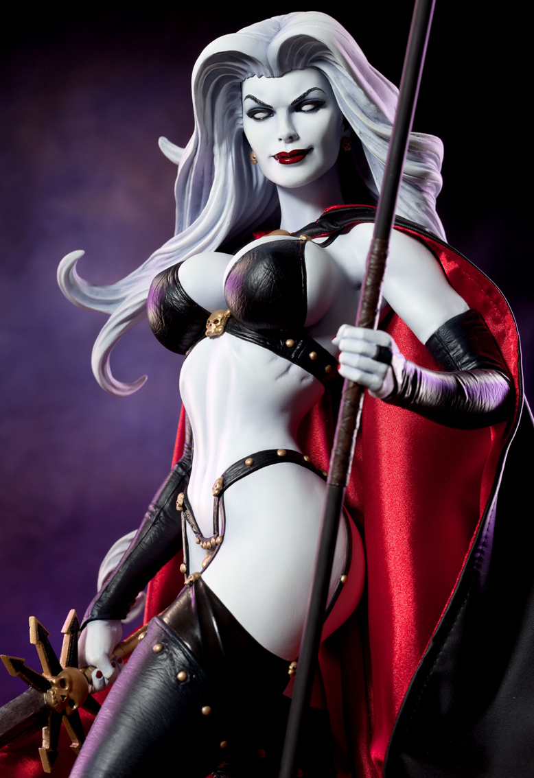 Painting, cape and photography courtesy of Sideshow Collectibles. Apr 14, 2012 Copyright Brian Pulido, 2012. Lady Death. 26 inches. Wax.