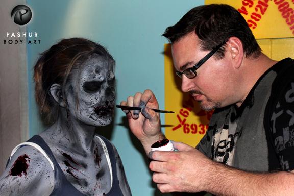 Los Angeles Apr 22, 2012 Pashur Painting a Zombie