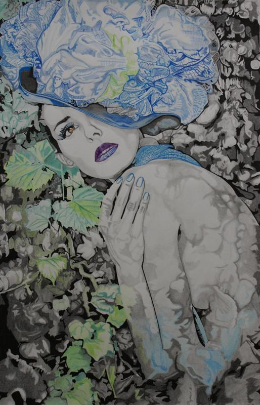 May 05, 2012 Christie Gabriel (model) T H Taylor (photographer) ink pencil and colour pencil drawing...
