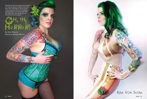 Los Angeles, CA May 08, 2012 Photos by Michele Muerte, Latex by Dollskin Designs, Lingerie by Perrfect Pineapples Tattoo Savage Magazine