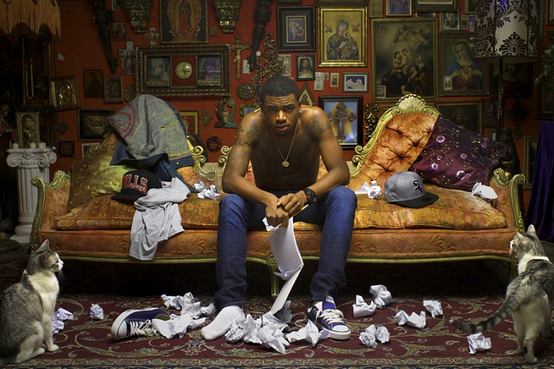 Kevin Break Studios, Los Angeles Jun 19, 2012 2012, Charles Little II rapper on sofa