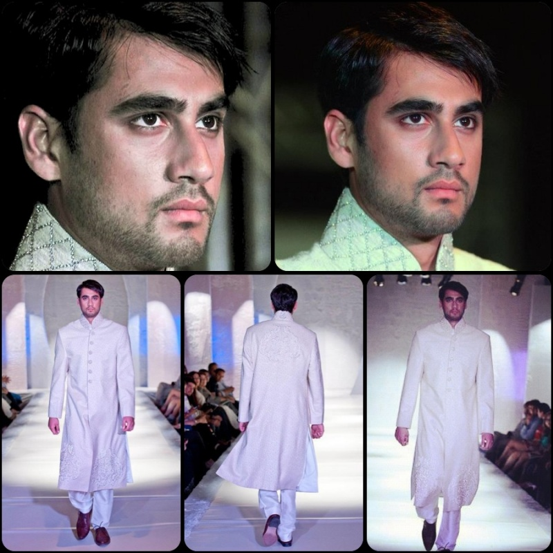 Male model photo shoot of MUSHAF KHAN in London / Pakistan Fashion Week