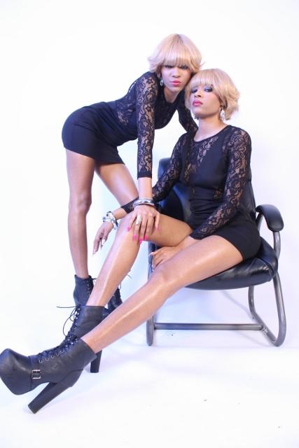 Female model photo shoot of Pearl Black Twins