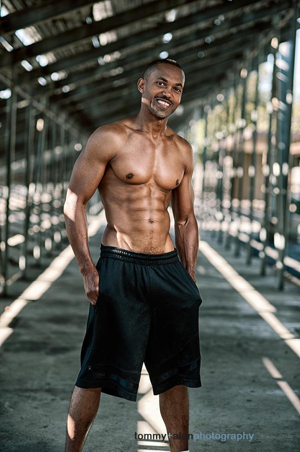Premium Photo   Portrait of shirtless muscular man flexing