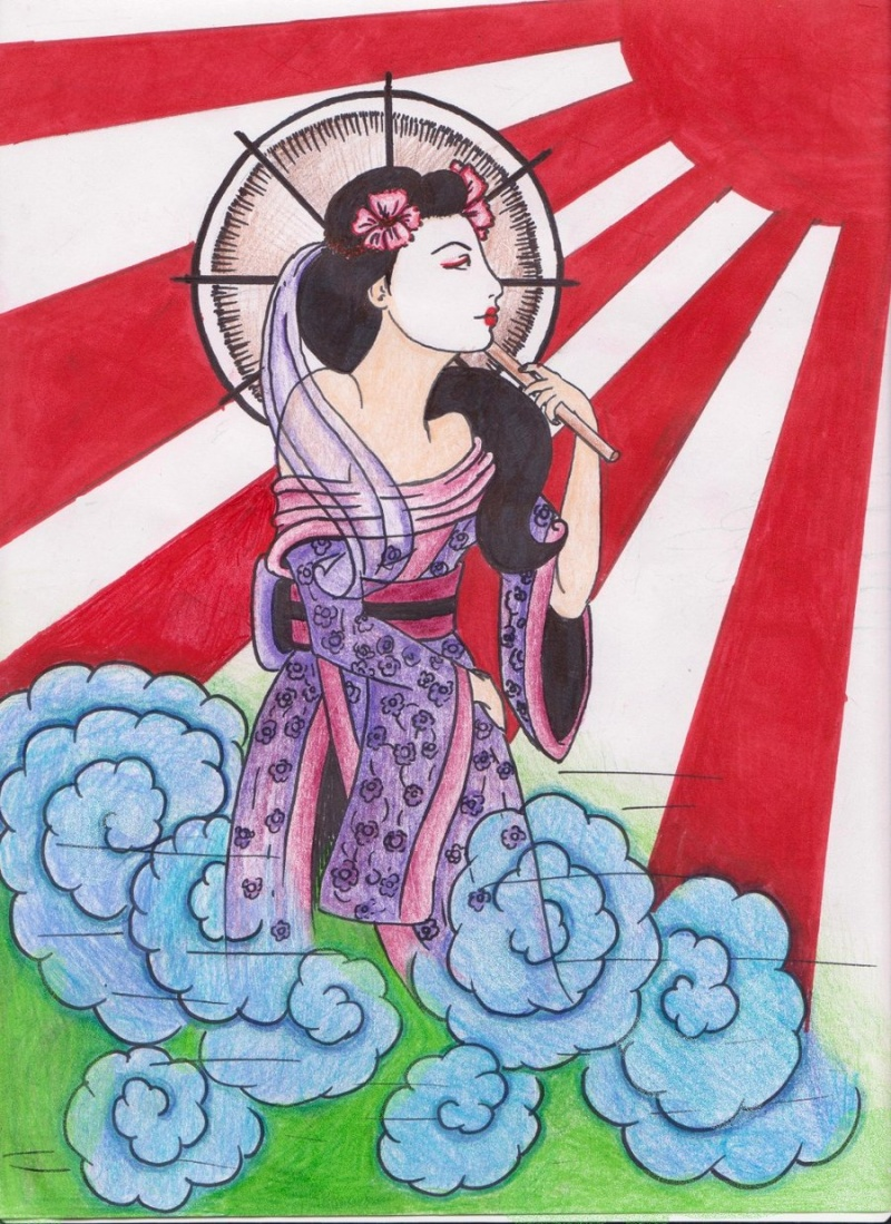 Aug 31, 2012 looney luna kaboom geisha and osaka sun in pen nd pencils