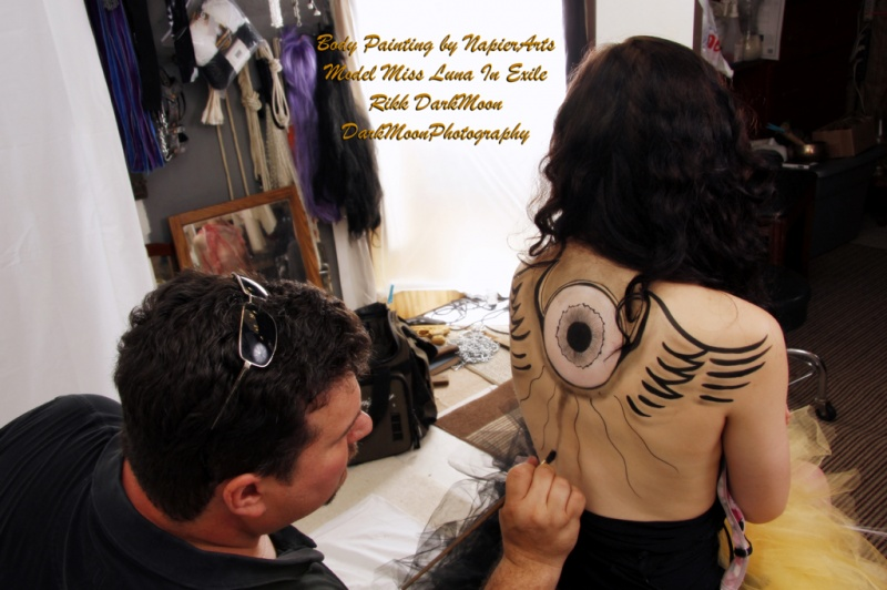 Male and Female model photo shoot of DarkMoonPhoto and Luna in Exile in Louisville Ky, body painted by Napier Arts