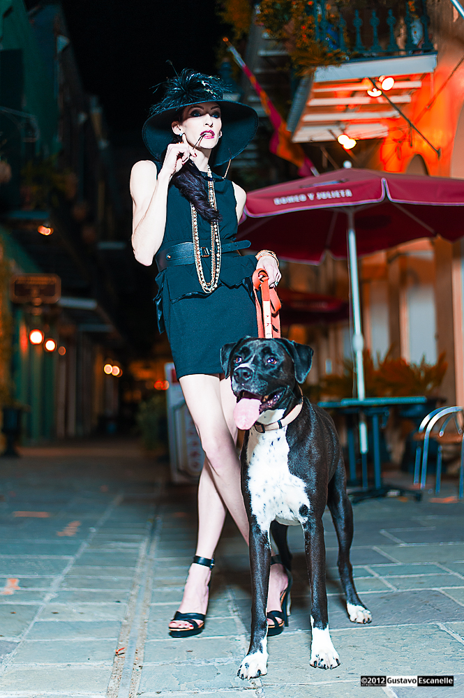 Pirates Alley Nawlins Oct 04, 2012 ©2012, Gustavo Escanelle, All Rights Reserved Dog Walk, Photo won BEST FASHION PICTURE of the day on July 07, 2016