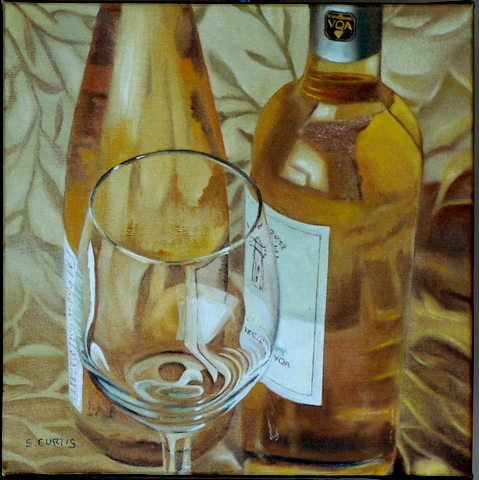Toronto Oct 07, 2012 6 by 6 oil on canvas white wine.