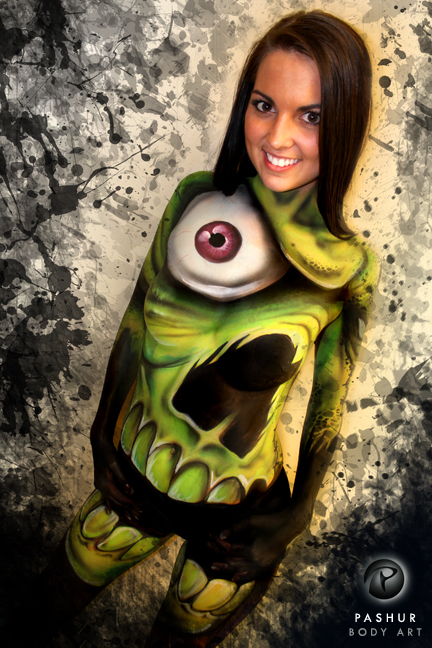 Female model photo shoot of Ashley Eubanks in Kansas City, MO, body painted by Pashur