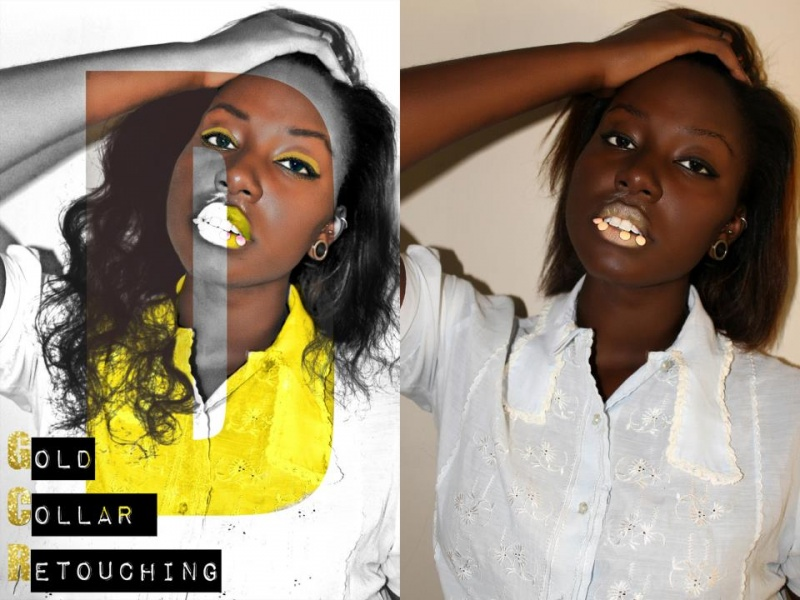 Female model photo shoot of Gold Collar Retouching
