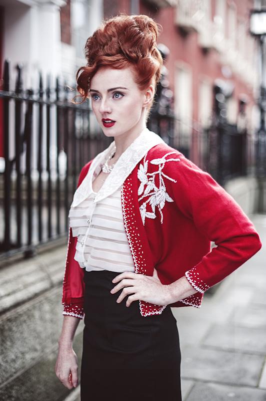 Female model photo shoot of Red_Electro by Anita Sadowska  in Stylist Carmel Daly www.dalystyling.com, makeup by Daria Czajka