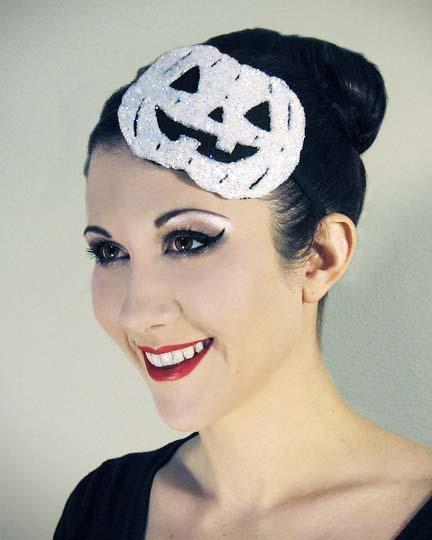 Dec 28, 2012 Horribly Eclectic Halloween Pumpkin fascinator headband in Frost White