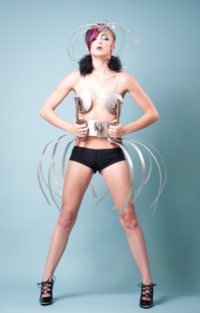 Columbus, Ohio Jan 08, 2013 Photographer: Fan the Flame* Designer: Jody Krevens* MUA: Tonya Taylor * Model: Taylor Brynne Aluminum Metal Spider Dress/ Head Cage Designed by : Jody Krevens