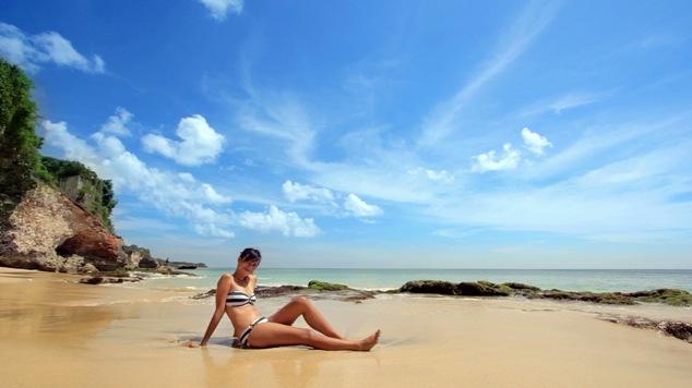 Female model photo shoot of mokka in beach