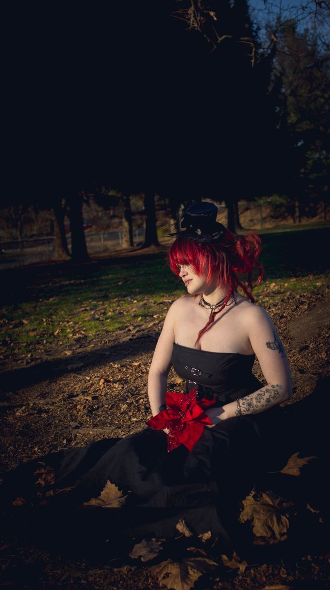 Female model photo shoot of Malice the Macabre by Katie Robertson  in Pangborn Park, Hagerstown Maryland